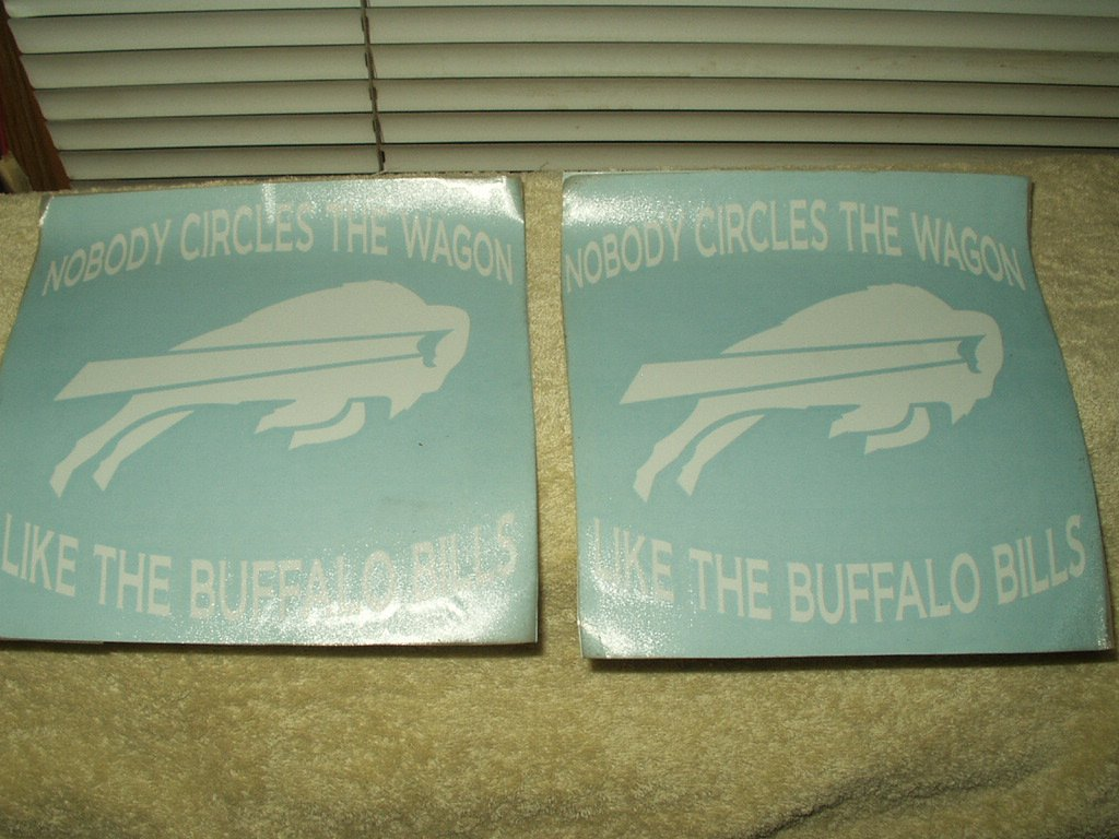 "buffalo bills nfl circle the wagon sticker white 7.5"" wide x 7.25"" tall"