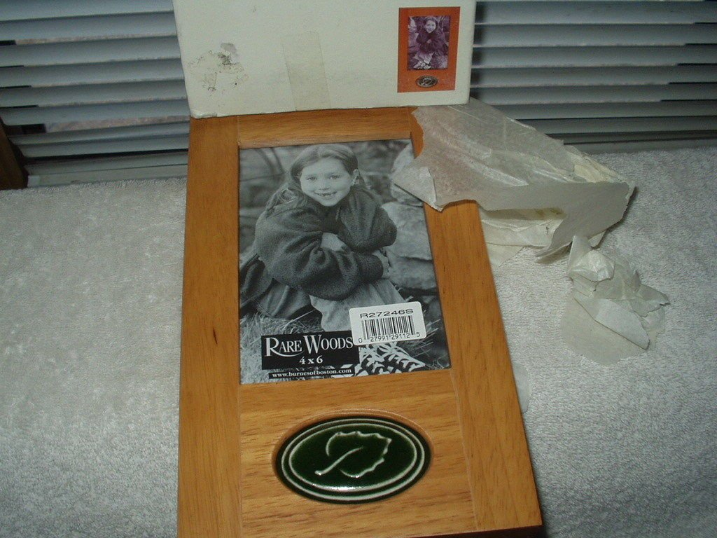 """rare woods picture frame 4"""" x 6"""" photo light cherry wood # r27246s"""