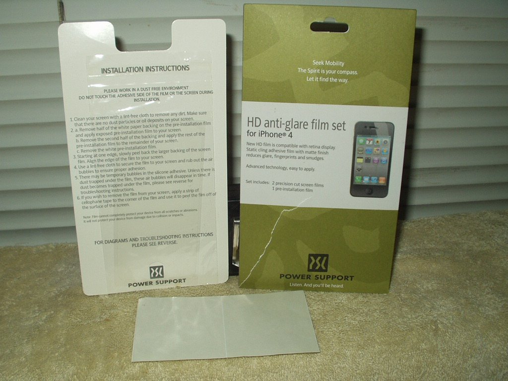 iphone 4 hd anti-glare film set 1 application power support brand