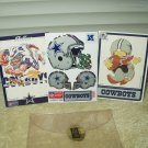 vtg 1990 dallas cowboy mini helmet sticker set w/ hot shot & huddle cards