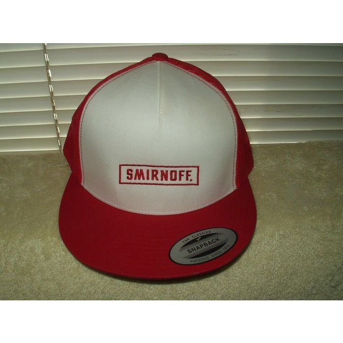 smirnoff snapback cap hat red & white mesh style back half the classics