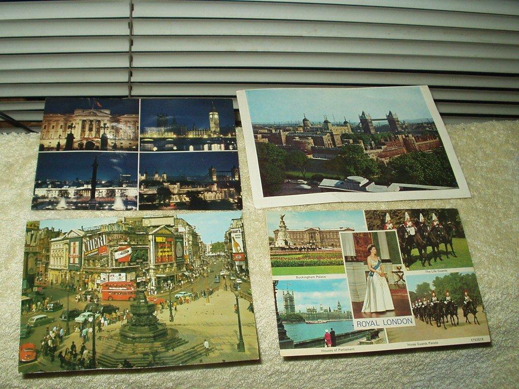 vintage london england uk lot of 4 postcards buckingham piccadilly qn elizabeth