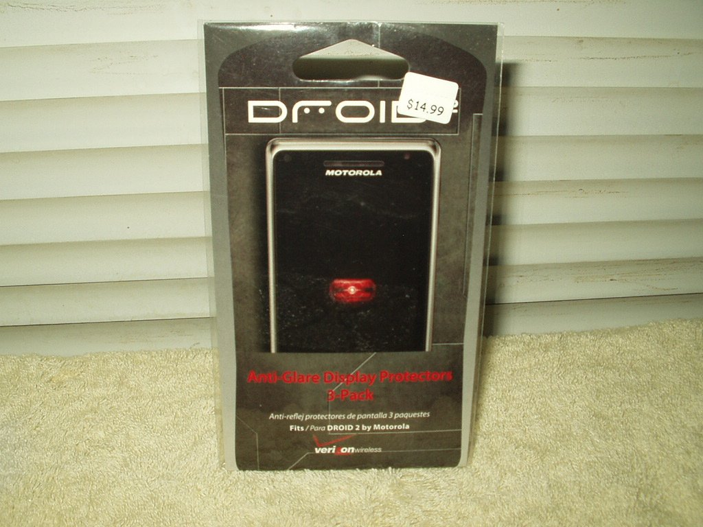 motorola droid2 droid 2 ant-glare display protectors pack of 3 verizon #motdrd23pkasp