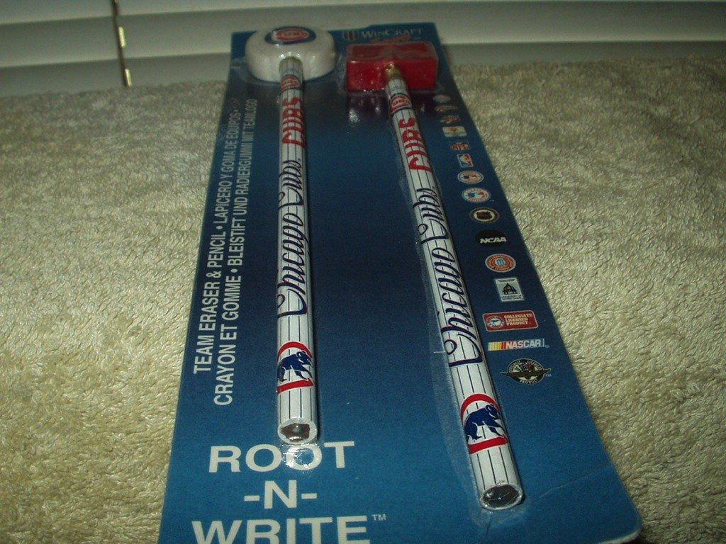 chicago cubs licensed root n write team eraser & pencil set sealed wincraft