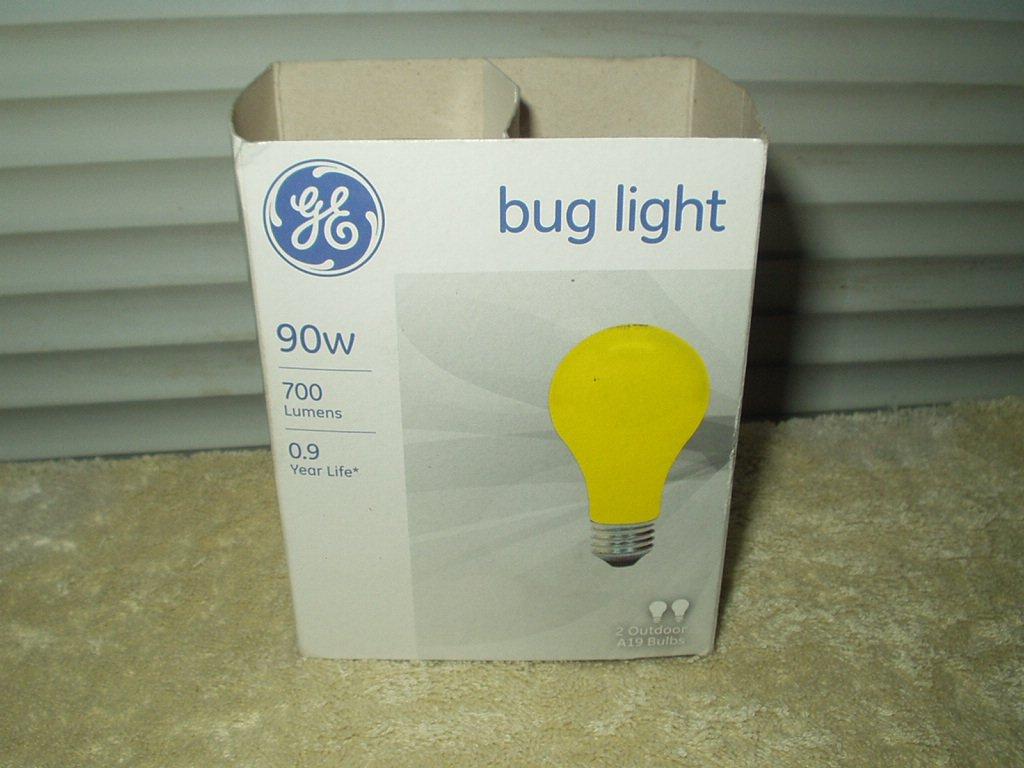 bug light ge 90 watt 700 lumens yellow color pack of 2 a19 bulbs