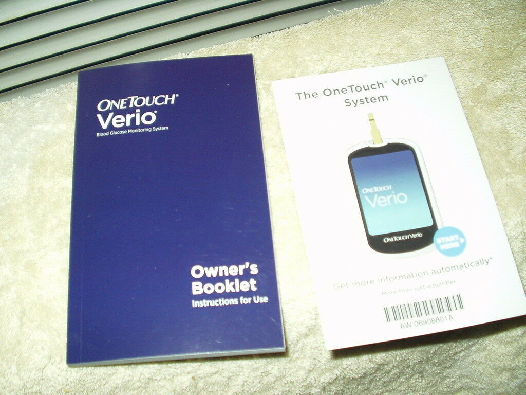 """one touch onetouch verio glucose meter / monitor """"manual"""" only in english"""