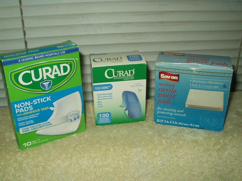 "curad 3""x4"" non stick pads 10ea & 98ea 1""x3"" blue bandages + 16ea gauze pads 3"""
