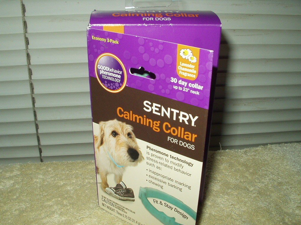 """sentry calming collar lot of 2 ea sealed up to 23"""" neck open box"""