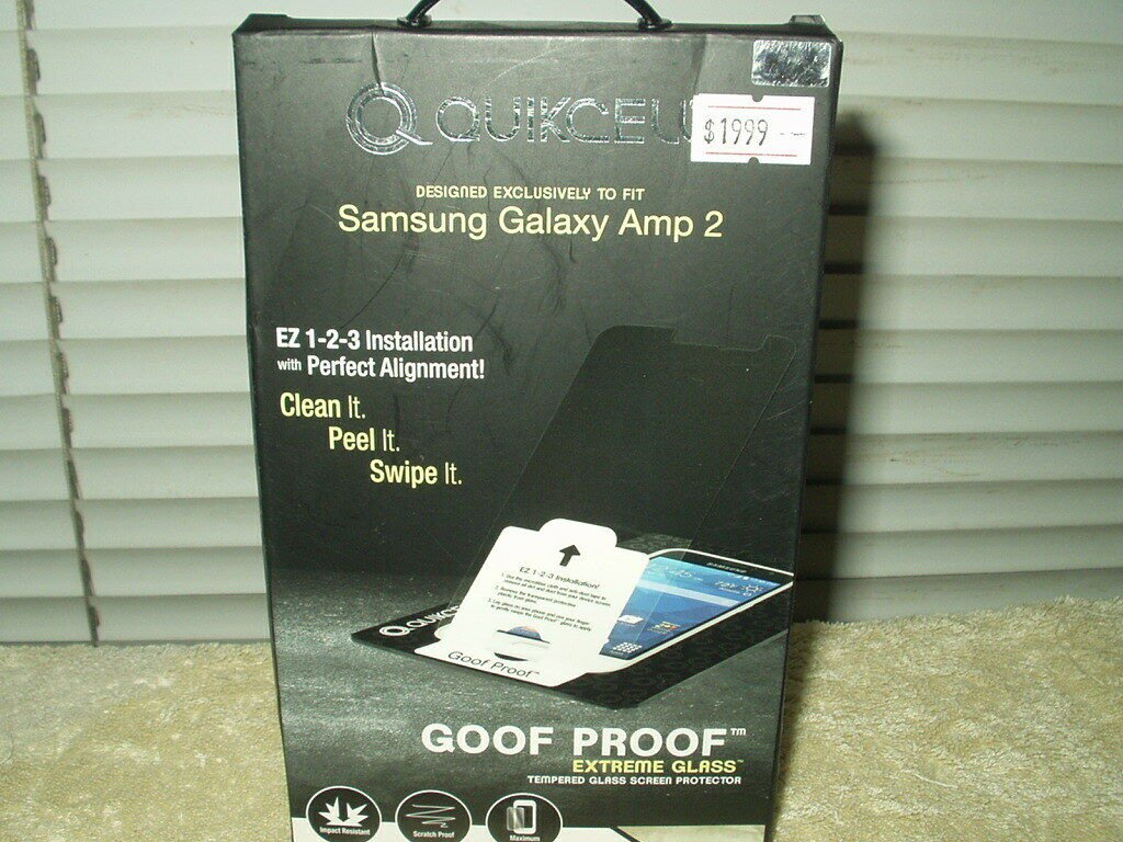 samsung galaxy amp 2 tempered glass screen protector quikcell goof proof