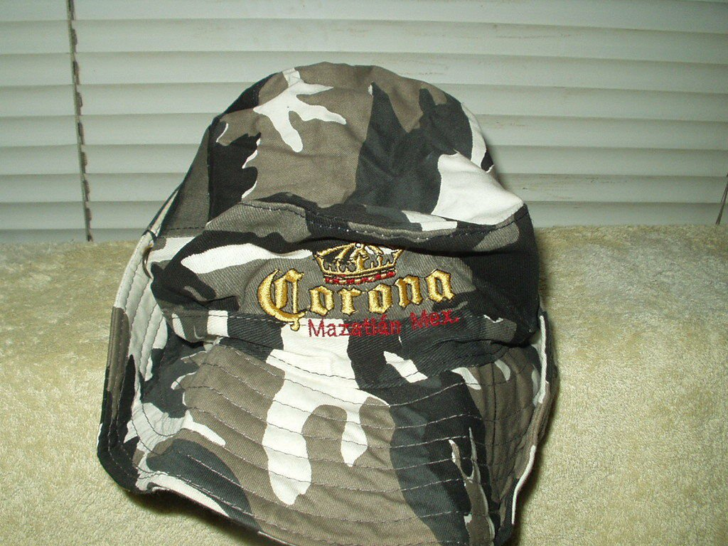 corona beer mazatlan mexico camo swamp hat embroidered logo and letters