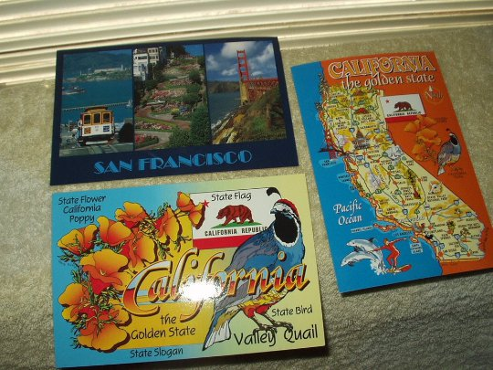 vintage california golden state symbols & san francisco postcards lot of 3 unposted