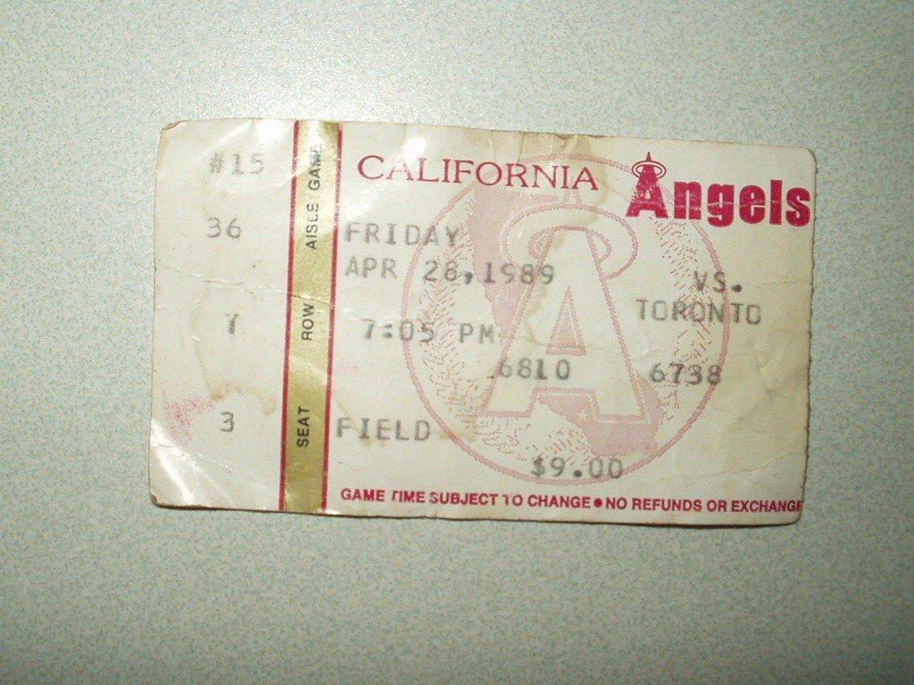 1989 California anaheim Angels vs. toronto blue jays Ticket Stub