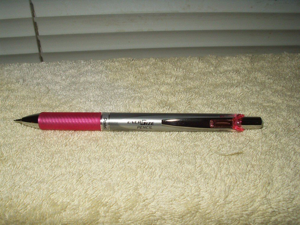 energize pencil pentel # pl77-p pink mechanical pencil retractable tip