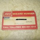 avis rent a car wizard # card for collectors...rare vintage