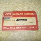 avis rent a car wizard # card for collectors...rare vintage