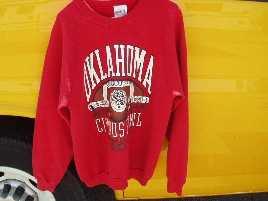 vintage oklahoma sooners vs clemson january 2, 1989 citrus bowl xl red sweatshirt