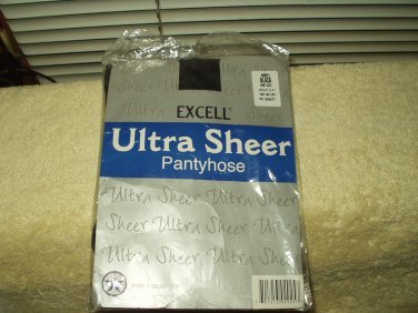 """excell ultra sheer panty hose pantyhose black one size fits 5'-5'.9"""" 100 - 160 pounds #4001"""