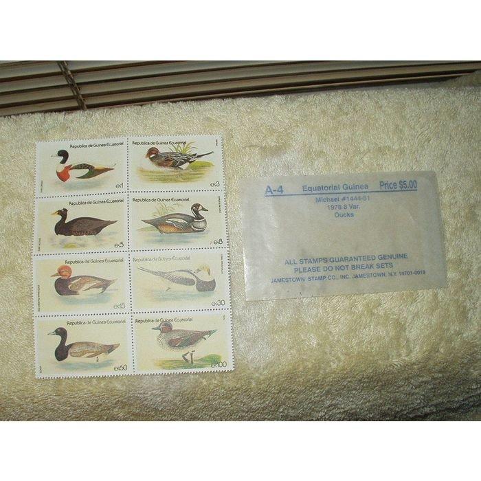 STAMPS Equatorial Guinea #1441-51 1978 ducks lot of 8 unglued