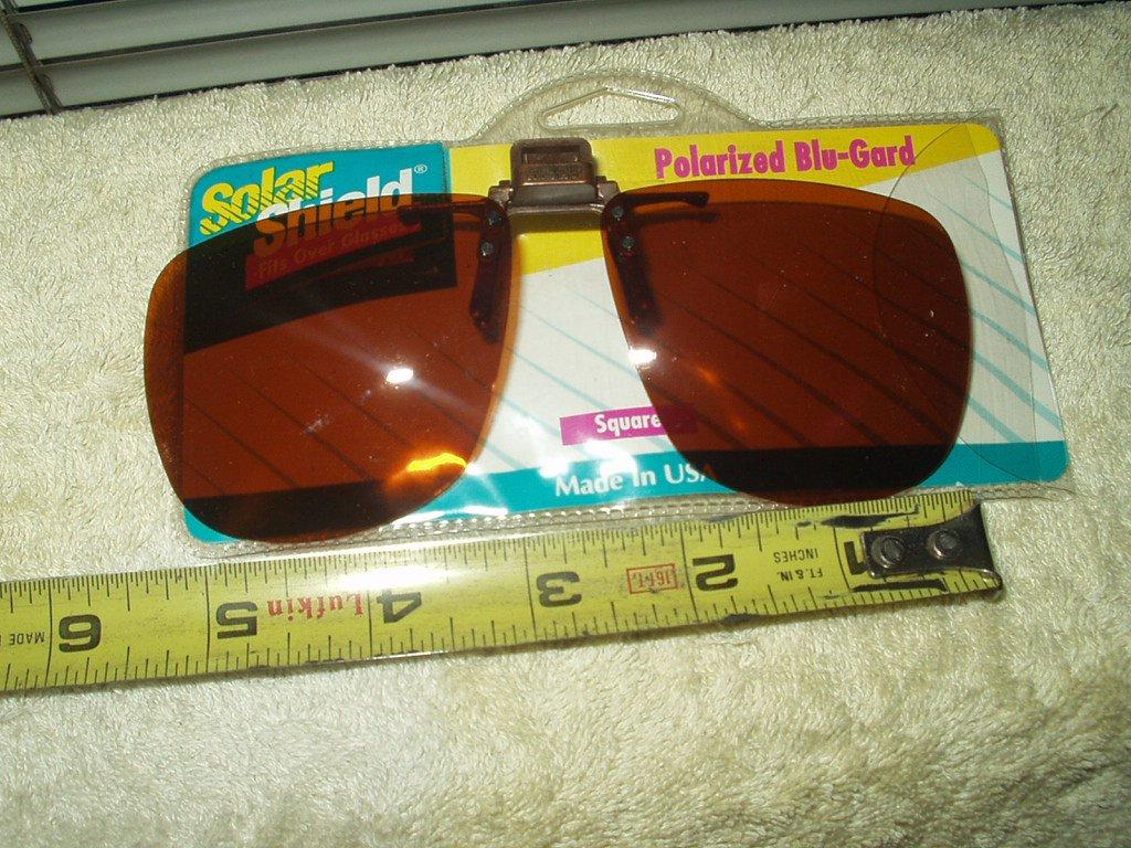 solar shield polarized blu-gard square clip & flip over glasses sun eye protection # d350359