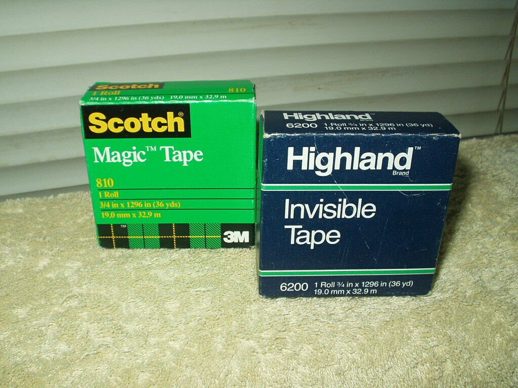 "scotch #810 magic tape & highland #6200 roll tape both 3/4"" x 36 yards lot of 2"