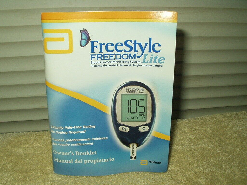 "Abbott Freedom Lite freestyle freedom lite glucose meter monitor ""manual"" only in"