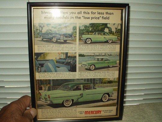 1955 ford mercury custom car automobile ad advertisement w/ framed glass cover