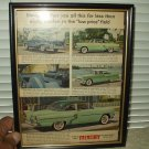 1955 ford mercury custom car automobile ad advertisement w/ framed glass cover