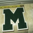 "green letter M patch chenlle 5.7"" t x 5.4"" w college high school"