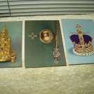 postcards the exeter salt, sovereigns orb and head and st edwards crown lot of 3 king charles 2nd