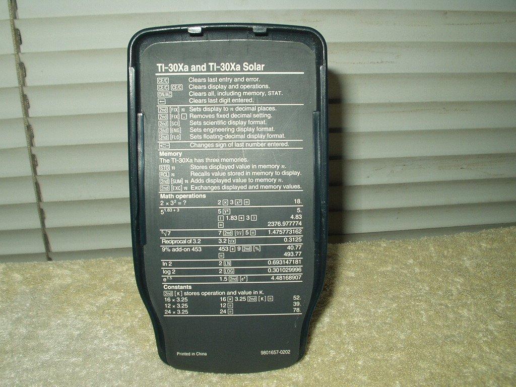 texas instruments ti-30xa & the solar version calculator cover only