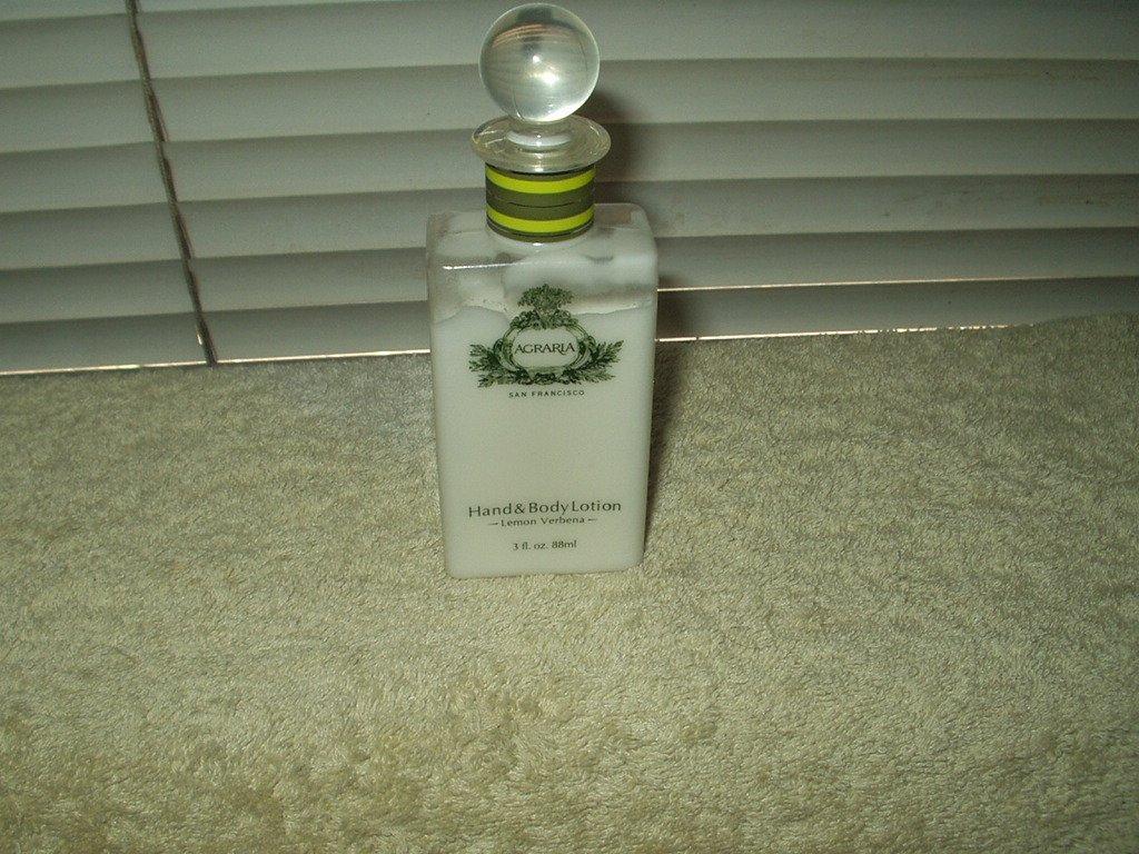 agraria hand & body lotion lemon verbena 3 oz bottle