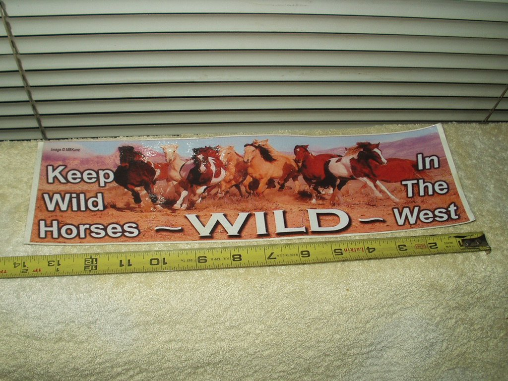 "keep horses wild in the west full color vinyl sticker 13.5"" w x 4"" t"