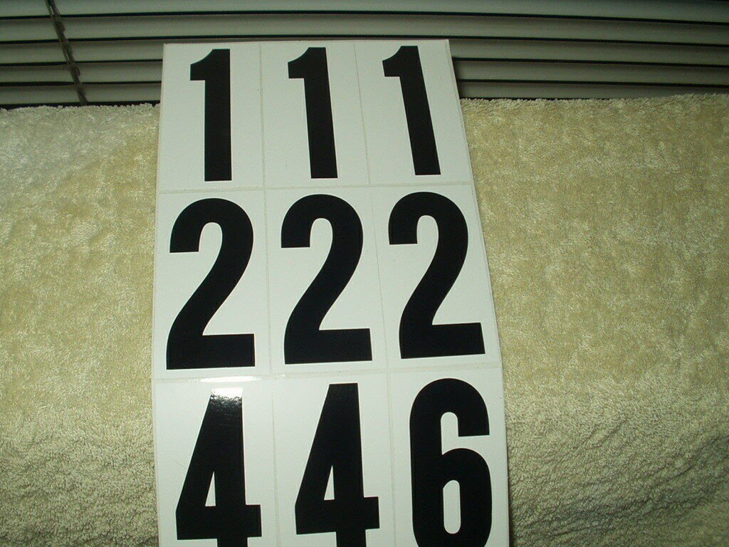 """vinyl numbers & letters 3"""" & 2.5"""" lot of 57 mailbox truck tractor house black"""