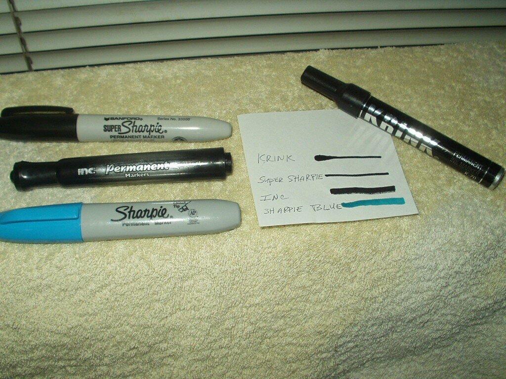 krink k-70 & super sharpie + inc perm black & sharpie blue marker lot of 4 ea