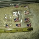 american US flag lapel pins lot of 10 each 8 rectangular & 2 waving gold trim