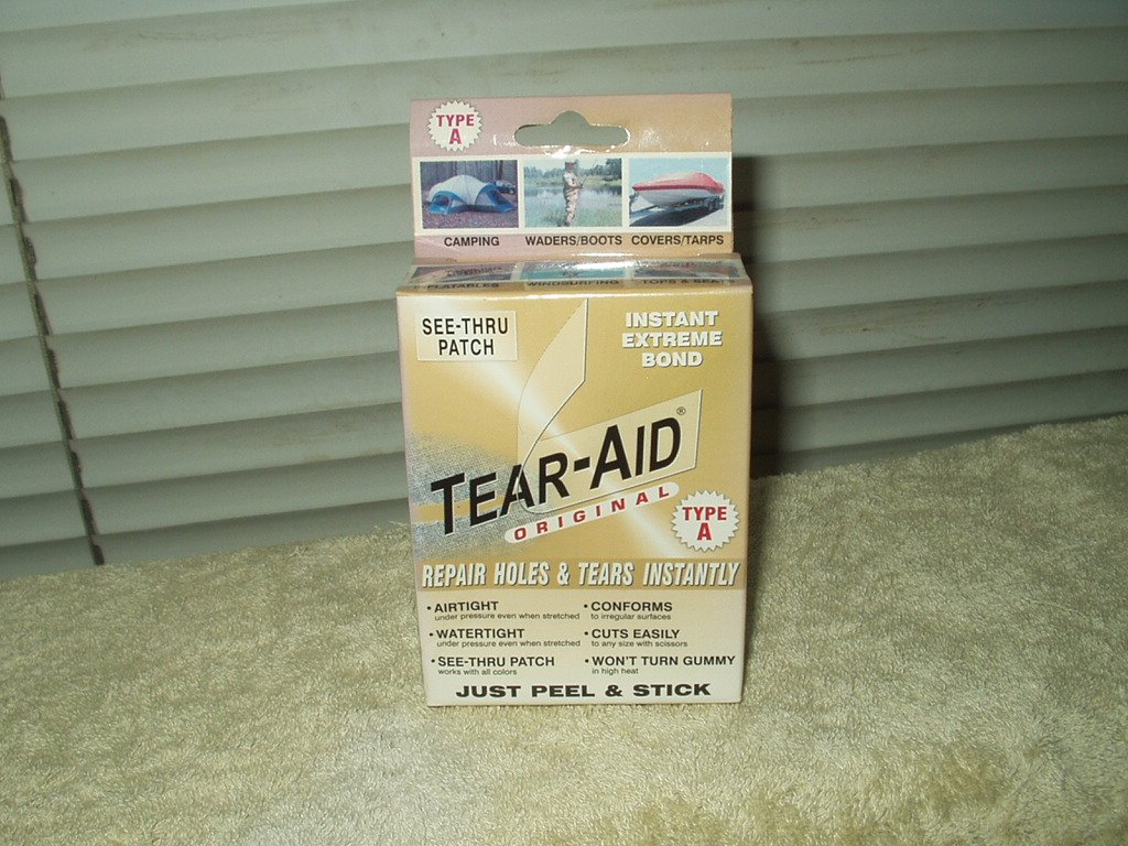 tear-aid repairs holes and tears instantly type a new older stock