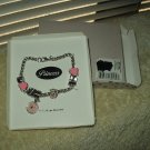 "princess bracelet 7.5"" pink & silver toned costume type"