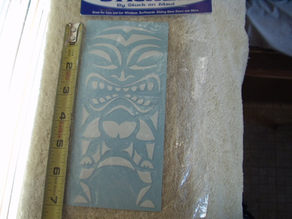 "tiki 18 -18w white vinyl decal sticker approx 7"" x 2.75"" by stuck on maui"