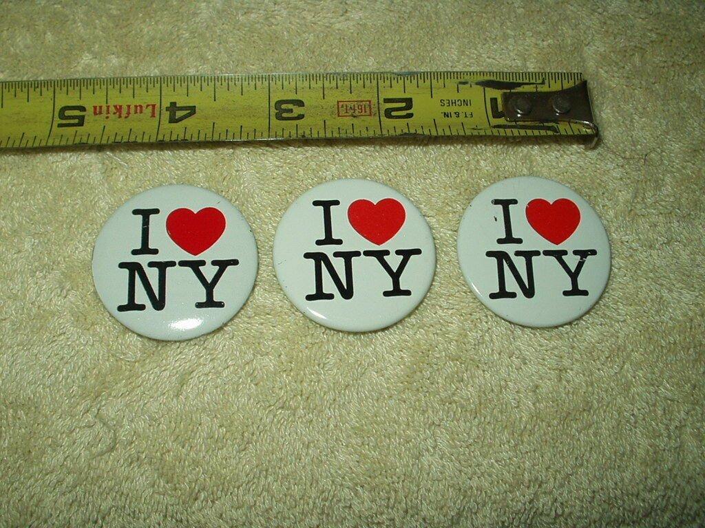 "vtg i love ny new york pin set of 3 approx 1.4"" round"