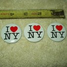 "vtg i love ny new york pin set of 3 approx 1.4"" round"