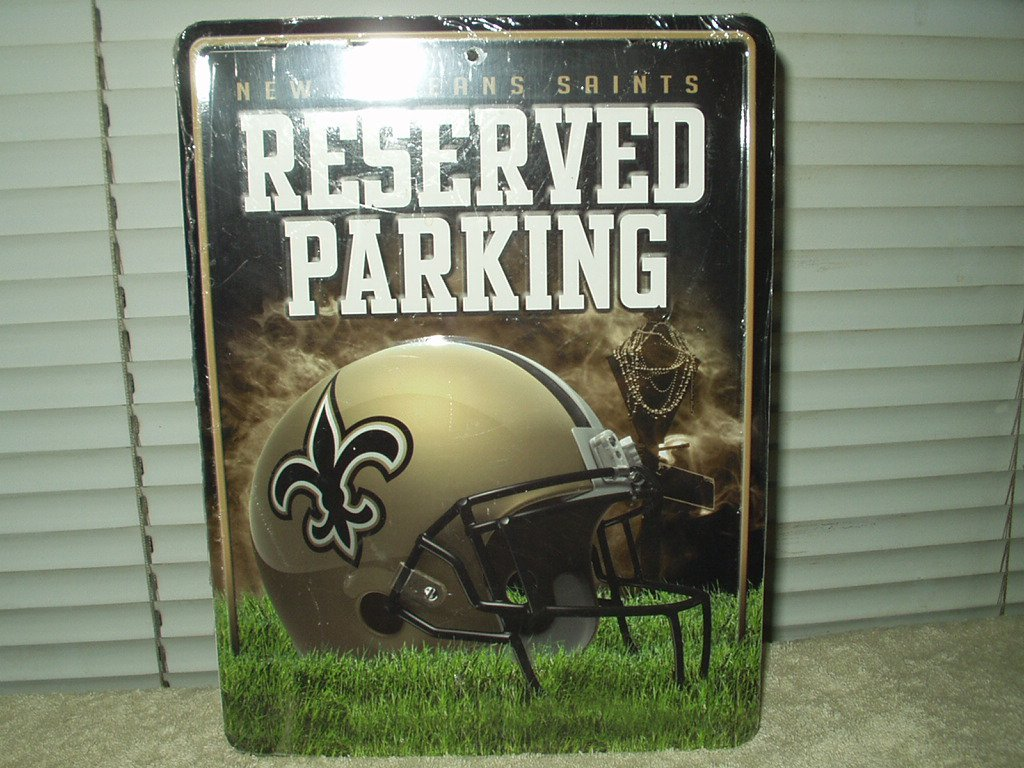 """new orleans saints reserved parking sign novelty metal approx 11"""" x 8.5"""" rico industries"""