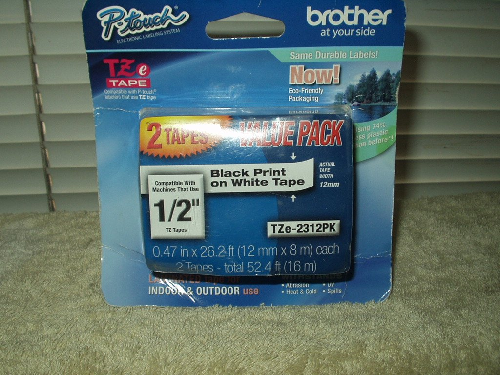 "brother p-touch tze-2312pk 1/2"" black print on white sealed pack of 2 tapes .47"" x 26' each"