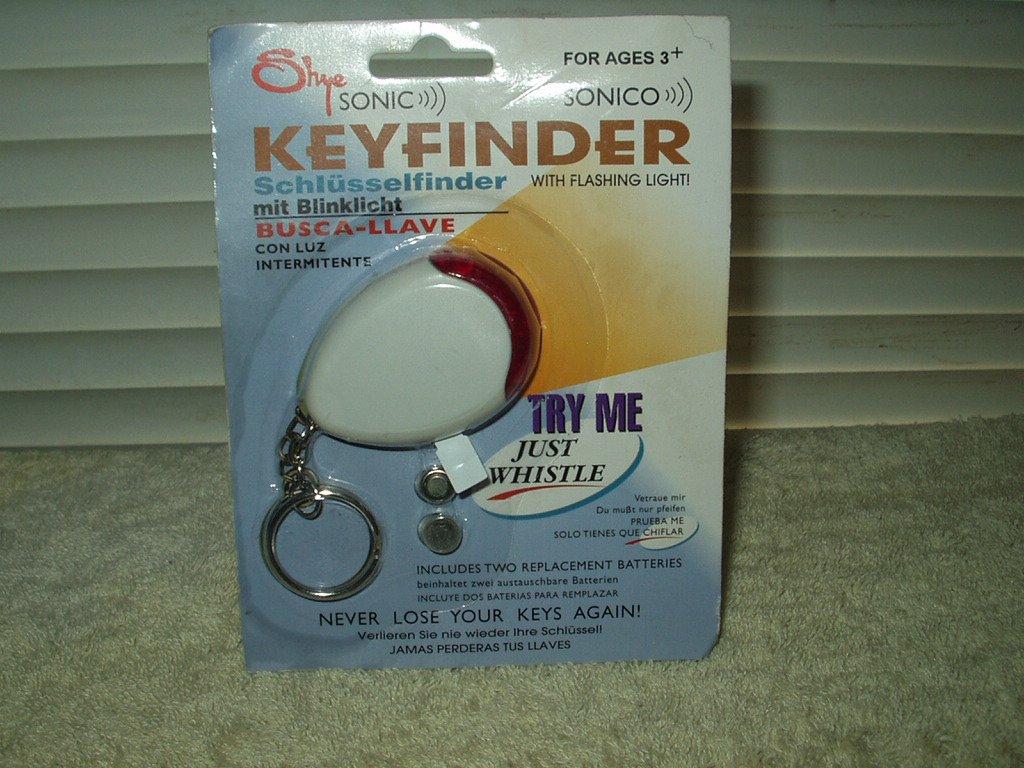 shye sonic keyfinder keychain with flashing light...sealed new old stock whistle activation