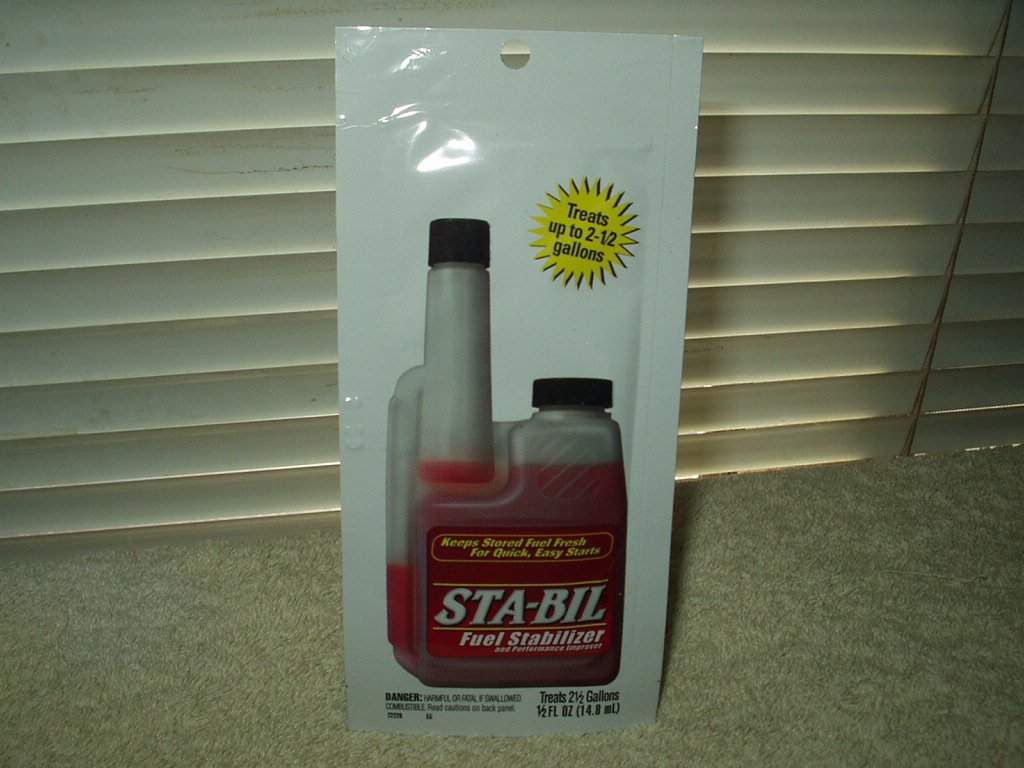 sta-bil fuel stabilizer for up to 2 1/2 gallons of gas.5 ounces