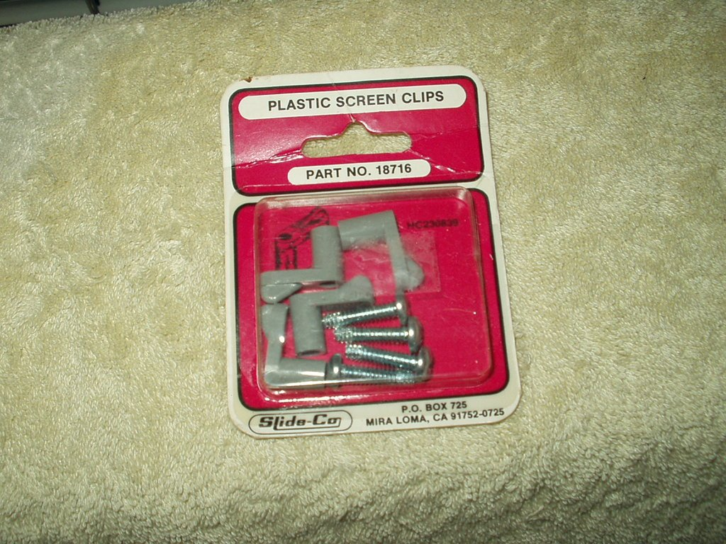 slide-co plastic screen mirror clips #18716 4 each w/ screws per box lot of 1