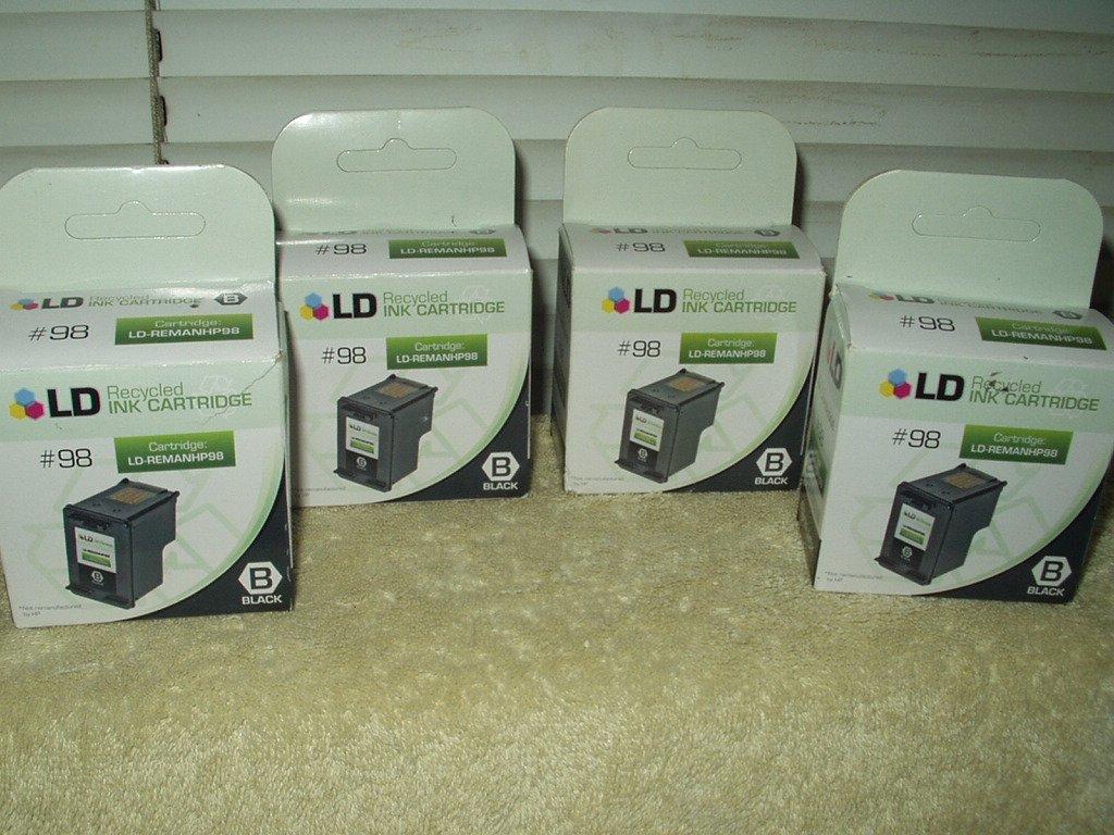 hp #98 deskjet designjet oficejet photosmart printer lot of 4 ld-remanhp98 recycled ink cartridges
