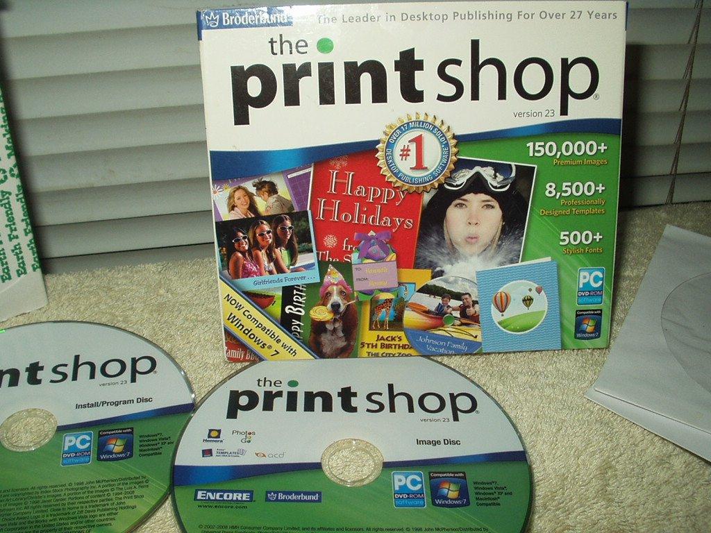 broderbund the print shop version 23  windows xp vista &7 + ?