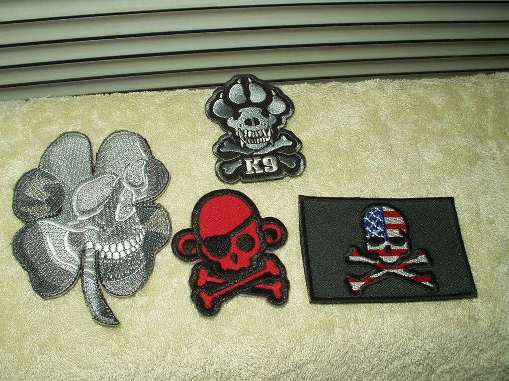 "skull patches lot of 4 each hook & loop style 2"" to 4"" patches"