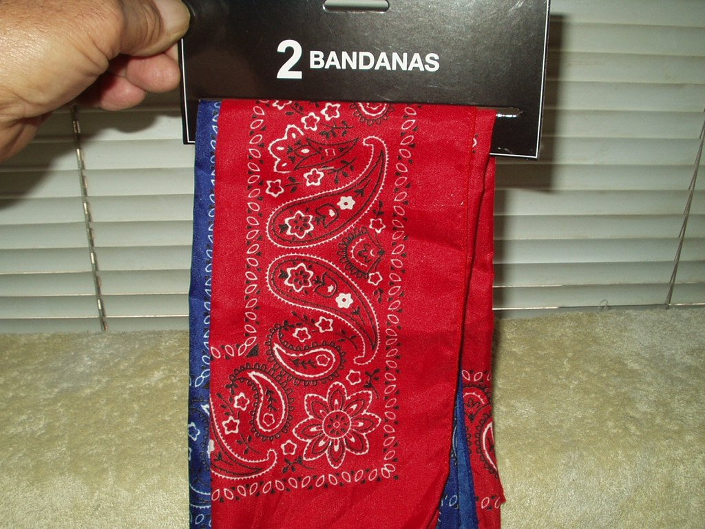 Blue & Red Paisley Bandana Headwraps Head Face Scarf 100% Polyester Set Of 2 #57044