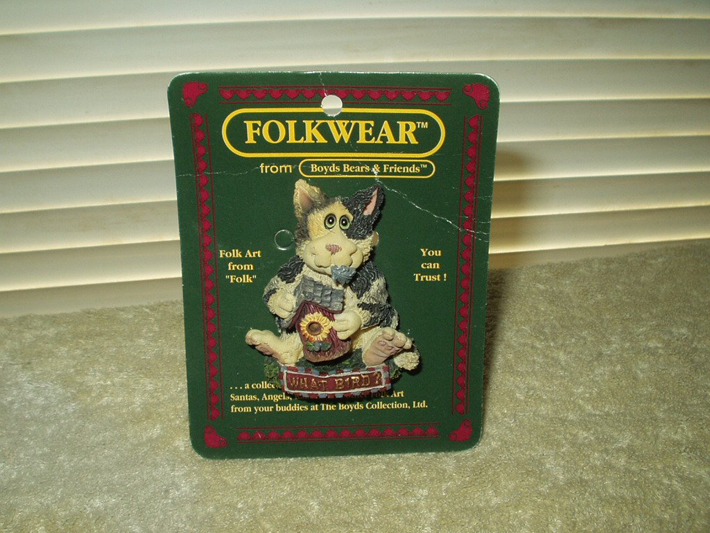 vtg folkwear pin brooch what bird ? cat #26429 boyds bears & friends 1995